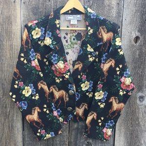 VTG 90s Floral & Horses Tapestry Bolero Jacket, M